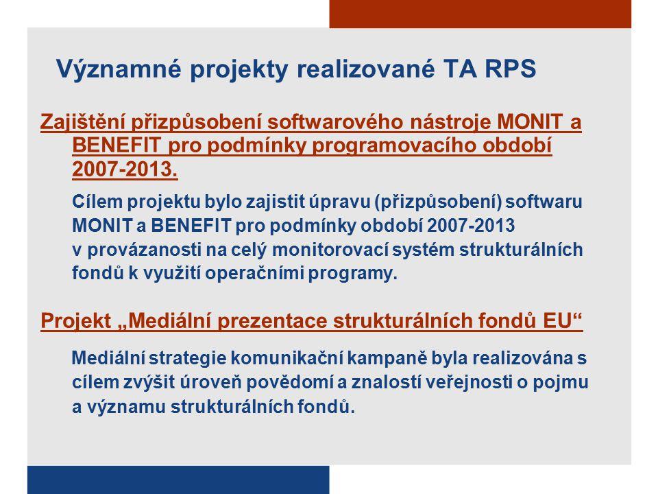 Významné projekty realizované TA RPS Zajištění přizpůsobení softwarového nástroje MONIT a BENEFIT pro podmínky programovacího období 2007-2013.