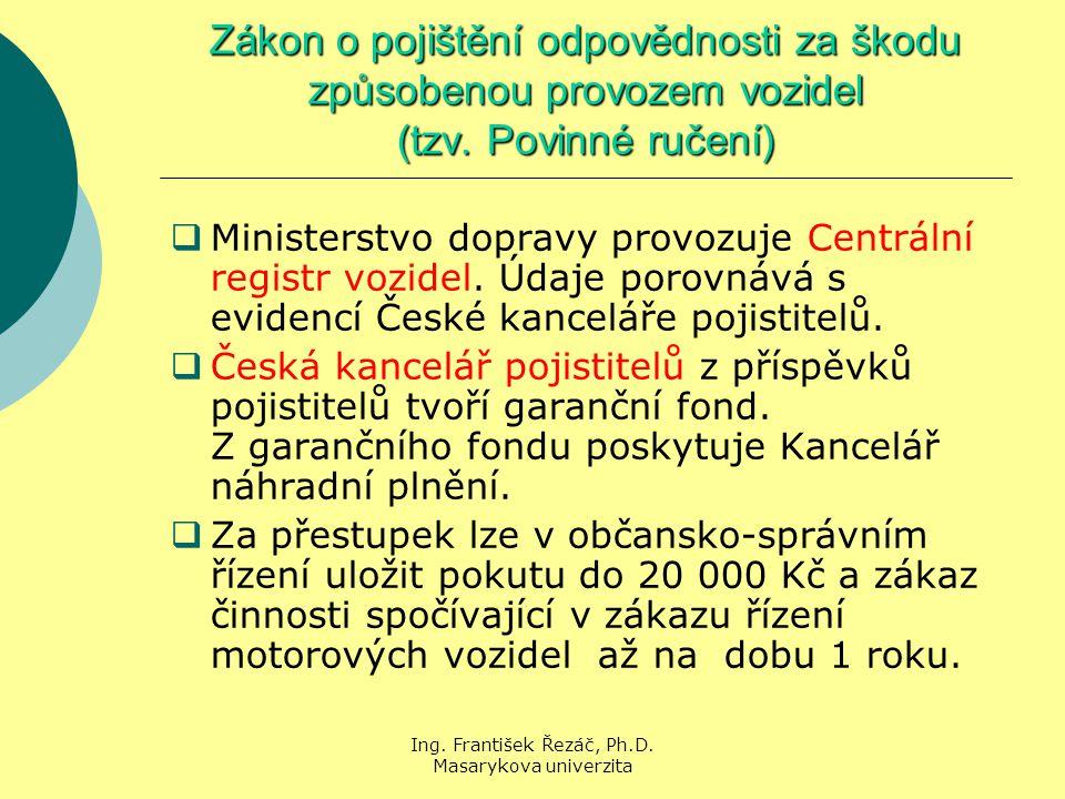 Ing. František Řezáč, Ph.D. Masarykova univerzita Zákon o pojištění odpovědnosti za škodu způsobenou provozem vozidel (tzv. Povinné ručení)  Minister
