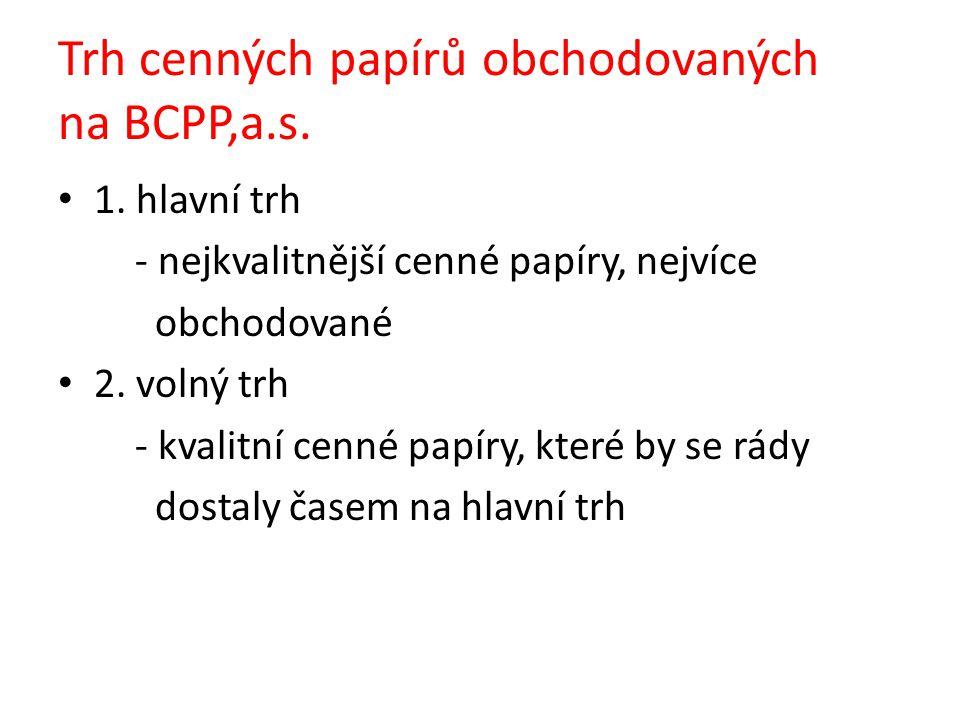 Trh cenných papírů obchodovaných na BCPP,a.s. 1.