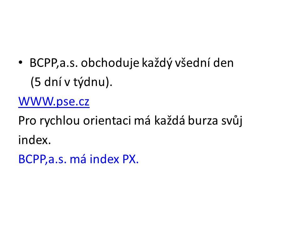 BCPP,a.s. obchoduje každý všední den (5 dní v týdnu).