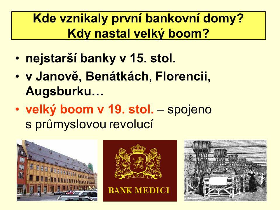 nejstarší banky v 15. stol. v Janově, Benátkách, Florencii, Augsburku… velký boom v 19. stol. – spojeno s průmyslovou revolucí Kde vznikaly první bank