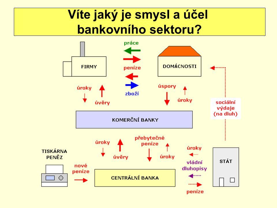 Víte jaký je smysl a účel bankovního sektoru?