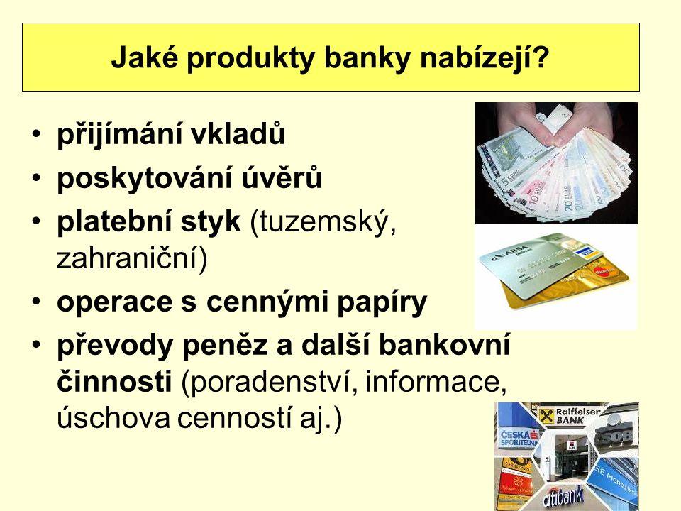 přijímání vkladů poskytování úvěrů platební styk (tuzemský, zahraniční) operace s cennými papíry převody peněz a další bankovní činnosti (poradenství,
