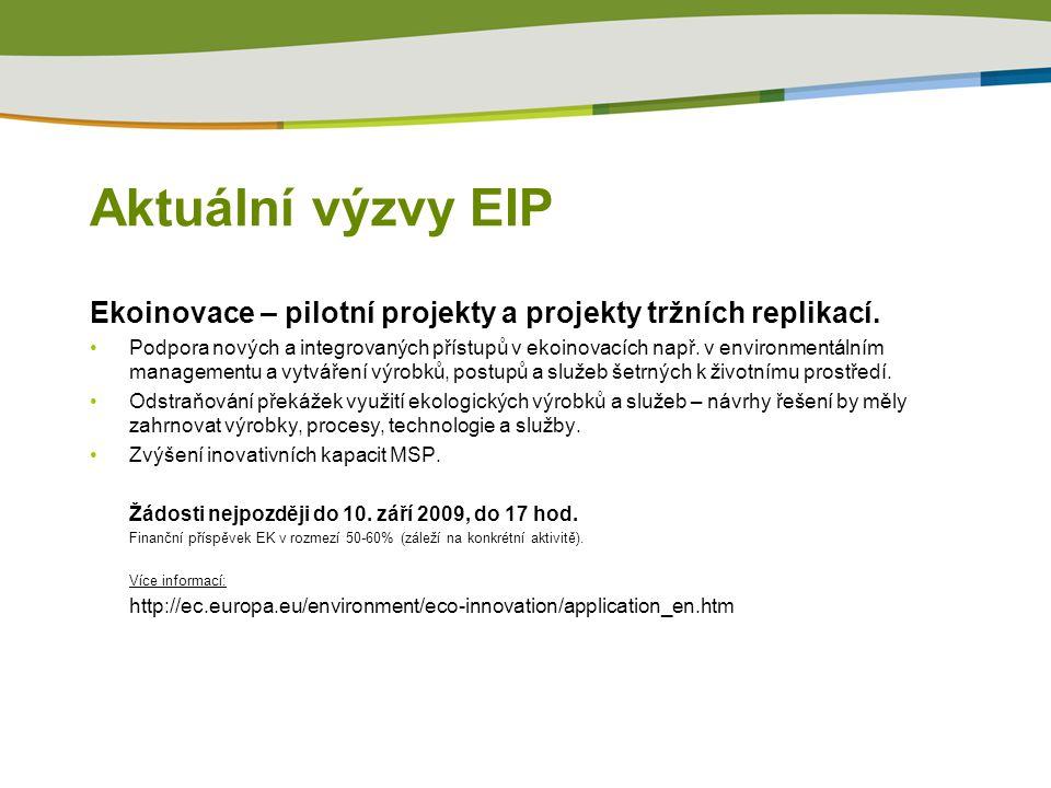 Aktuální výzvy EIP Ekoinovace – pilotní projekty a projekty tržních replikací.