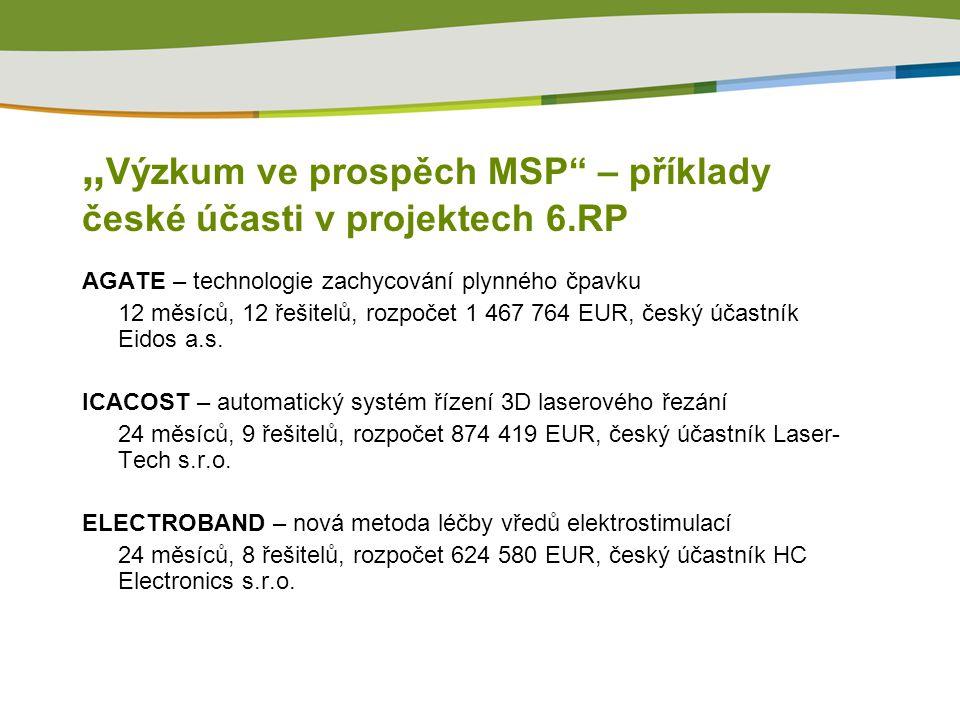 """"""" Výzkum ve prospěch MSP – příklady české účasti v projektech 6.RP AGATE – technologie zachycování plynného čpavku 12 měsíců, 12 řešitelů, rozpočet 1 467 764 EUR, český účastník Eidos a.s."""
