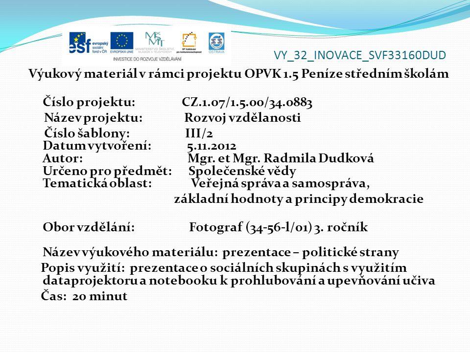 VY_32_INOVACE_SVF33160DUD Výukový materiál v rámci projektu OPVK 1.5 Peníze středním školám Číslo projektu: CZ.1.07/1.5.00/34.0883 Název projektu: Rozvoj vzdělanosti Číslo šablony: III/2 Datum vytvoření: 5.11.2012 Autor: Mgr.