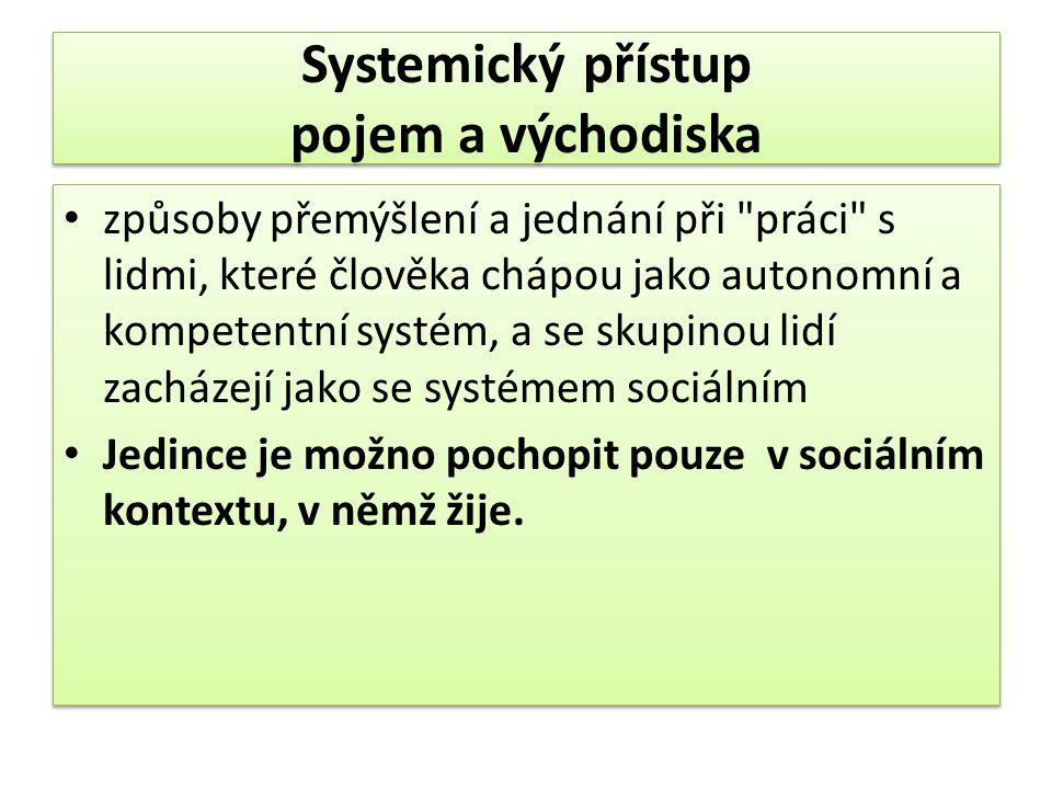 Systemický přístup pojem a východiska způsoby přemýšlení a jednání při práci s lidmi, které člověka chápou jako autonomní a kompetentní systém, a se skupinou lidí zacházejí jako se systémem sociálním Jedince je možno pochopit pouze v sociálním kontextu, v němž žije.