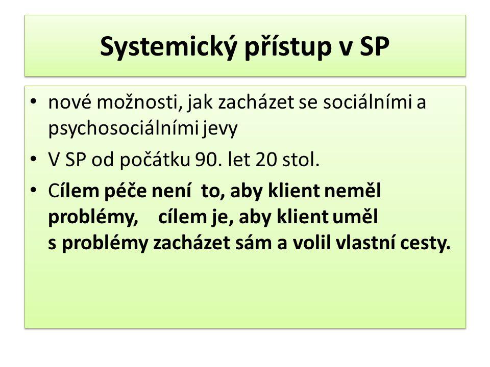 Systemický přístup v SP nové možnosti, jak zacházet se sociálními a psychosociálními jevy V SP od počátku 90.
