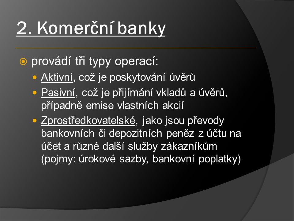 2. Komerční banky  provádí tři typy operací: Aktivní, což je poskytování úvěrů Pasivní, což je přijímání vkladů a úvěrů, případně emise vlastních akc