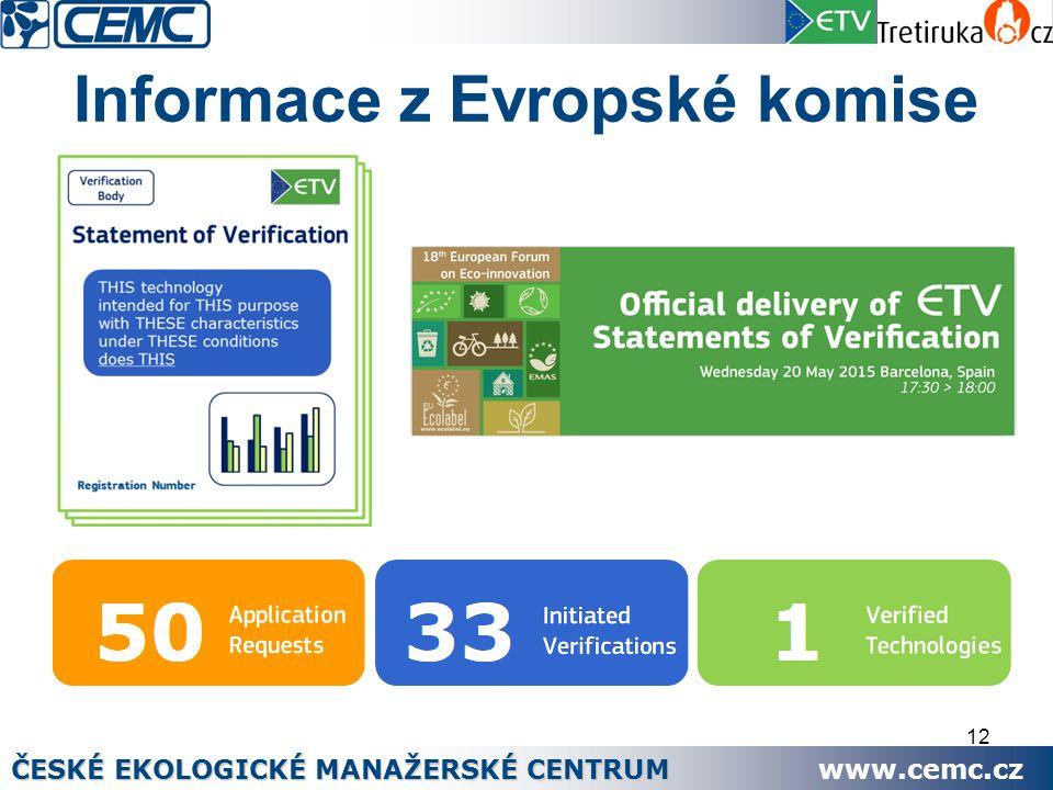12 Informace z Evropské komise ČESKÉ EKOLOGICKÉ MANAŽERSKÉ CENTRUM www.cemc.cz