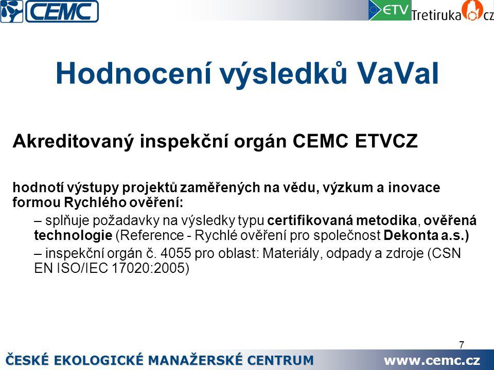 7 Hodnocení výsledků VaVaI Akreditovaný inspekční orgán CEMC ETVCZ hodnotí výstupy projektů zaměřených na vědu, výzkum a inovace formou Rychlého ověření: – splňuje požadavky na výsledky typu certifikovaná metodika, ověřená technologie (Reference - Rychlé ověření pro společnost Dekonta a.s.) – inspekční orgán č.