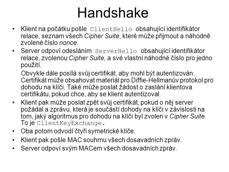 Handshake Klient na počátku pošle ClientHello obsahující identifikátor relace, seznam všech Cipher Suite, které může přijmout a náhodně zvolené číslo nonce.