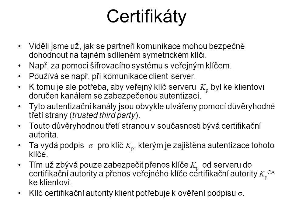 Certifikáty Viděli jsme už, jak se partneři komunikace mohou bezpečně dohodnout na tajném sdíleném symetrickém klíči.
