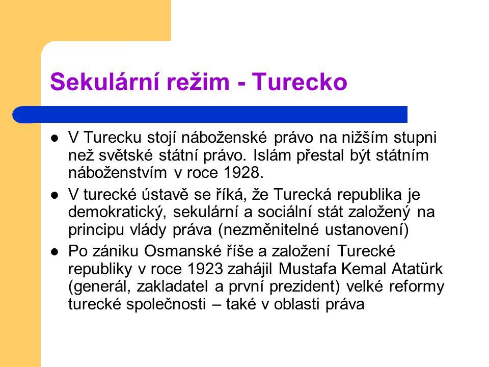 Sekulární režim - Turecko V Turecku stojí náboženské právo na nižším stupni než světské státní právo.