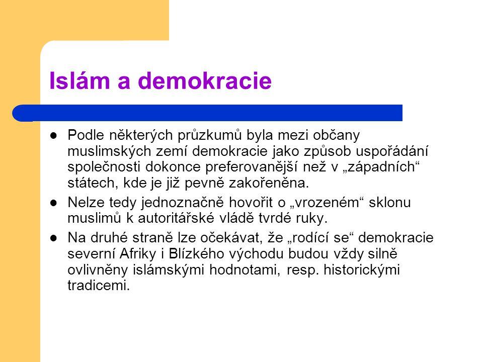 """Islám a demokracie Podle některých průzkumů byla mezi občany muslimských zemí demokracie jako způsob uspořádání společnosti dokonce preferovanější než v """"západních státech, kde je již pevně zakořeněna."""