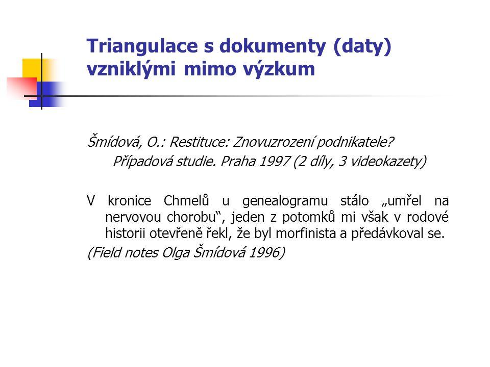 Triangulace s dokumenty (daty) vzniklými mimo výzkum Šmídová, O.: Restituce: Znovuzrození podnikatele? Případová studie. Praha 1997 (2 díly, 3 videoka