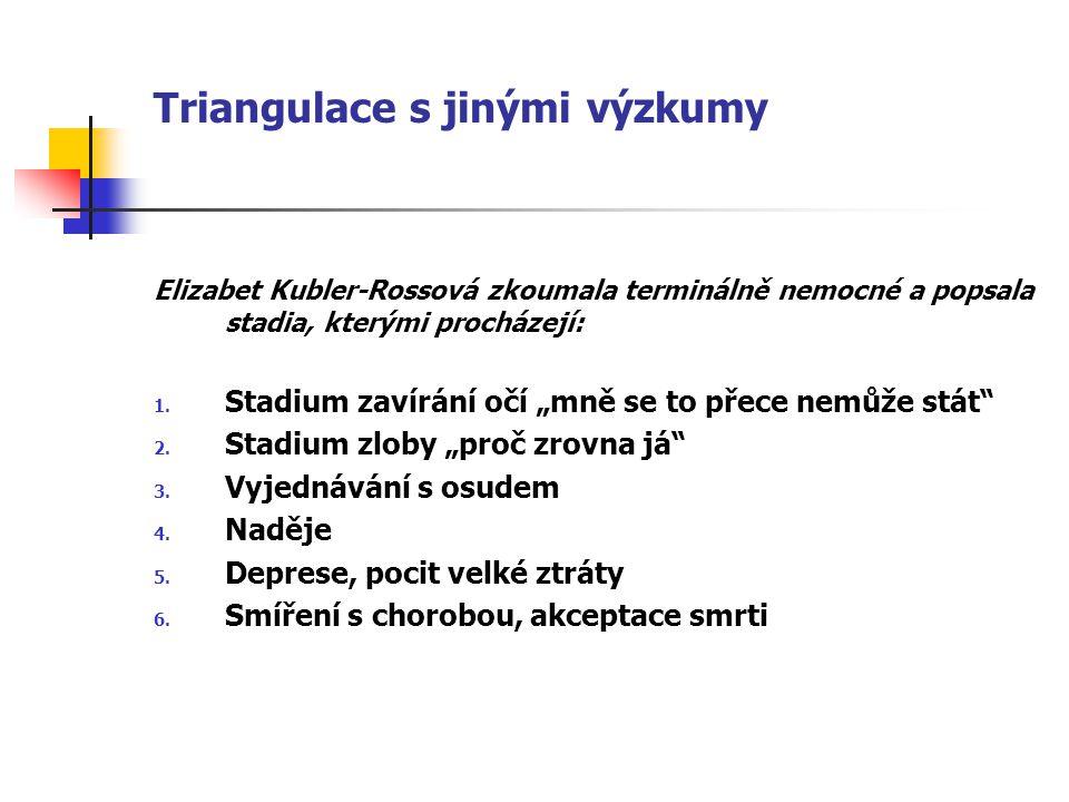 """Triangulace s jinými výzkumy Elizabet Kubler-Rossová zkoumala terminálně nemocné a popsala stadia, kterými procházejí: 1. Stadium zavírání očí """"mně se"""