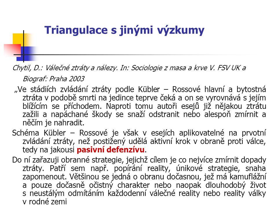 """Triangulace s jinými výzkumy Chytil, D.: Válečné ztráty a nálezy. In: Sociologie z masa a krve V. FSV UK a Biograf: Praha 2003 """"Ve stádiích zvládání z"""