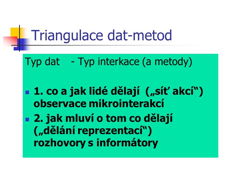 """Triangulace dat-metod Typ dat- Typ interkace (a metody) 1. co a jak lidé dělají (""""síť akcí"""") observace mikrointerakcí 2. jak mluví o tom co dělají (""""d"""