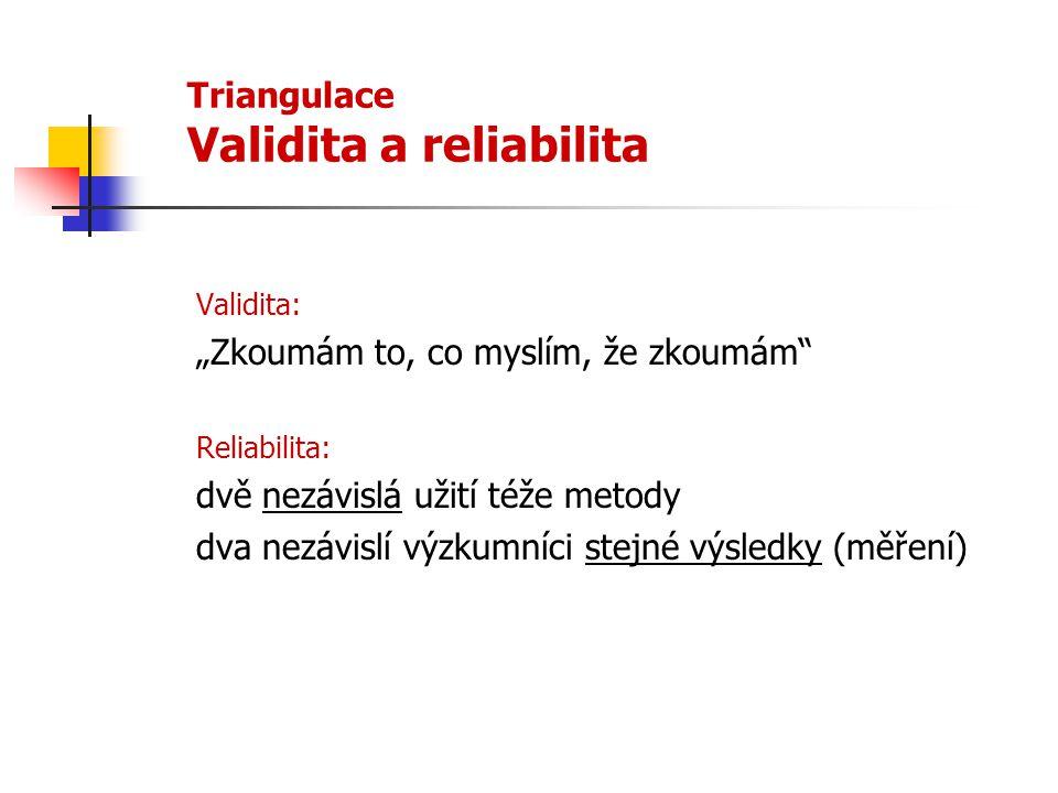 """Triangulace Validita a reliabilita Validita: """"Zkoumám to, co myslím, že zkoumám"""" Reliabilita: dvě nezávislá užití téže metody dva nezávislí výzkumníci"""