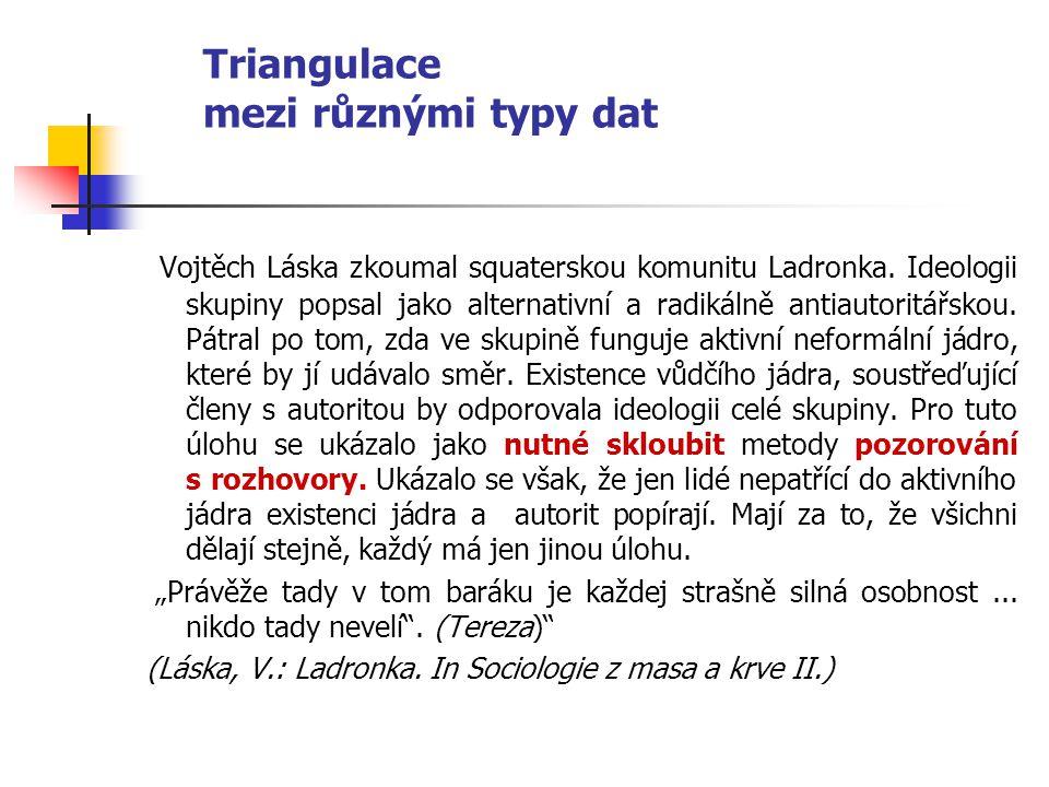 Triangulace mezi různými typy dat Vojtěch Láska zkoumal squaterskou komunitu Ladronka. Ideologii skupiny popsal jako alternativní a radikálně antiauto