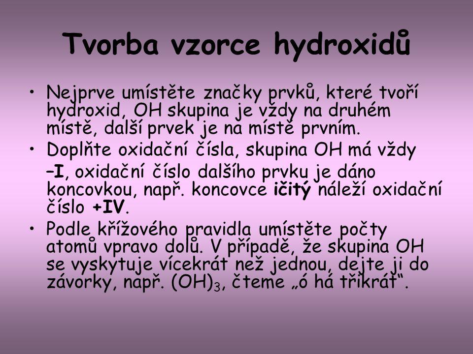 Tvorba vzorce hydroxidů Nejprve umístěte značky prvků, které tvoří hydroxid, OH skupina je vždy na druhém místě, další prvek je na místě prvním. Doplň