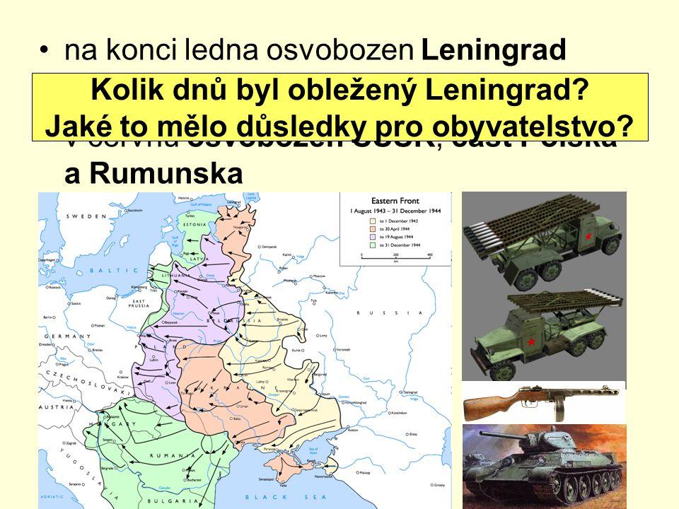 na konci ledna osvobozen Leningrad osvobozována Ukrajina, Bělorusko, Pobaltí v červnu osvobozen SSSR, část Polska a Rumunska Kolik dnů byl obležený Leningrad.