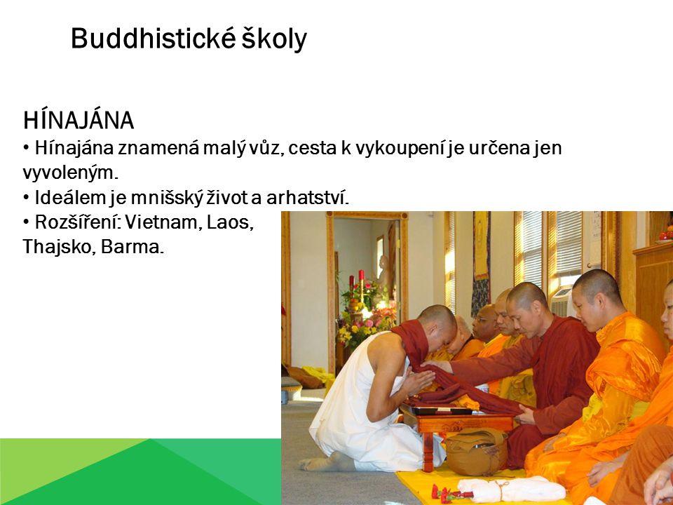 Buddhistické školy HÍNAJÁNA Hínajána znamená malý vůz, cesta k vykoupení je určena jen vyvoleným. Ideálem je mnišský život a arhatství. Rozšíření: Vie