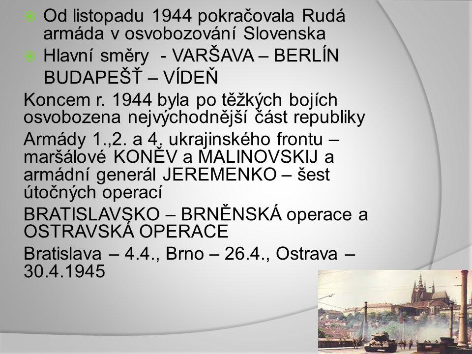  Od listopadu 1944 pokračovala Rudá armáda v osvobozování Slovenska  Hlavní směry - VARŠAVA – BERLÍN BUDAPEŠŤ – VÍDEŇ Koncem r. 1944 byla po těžkých
