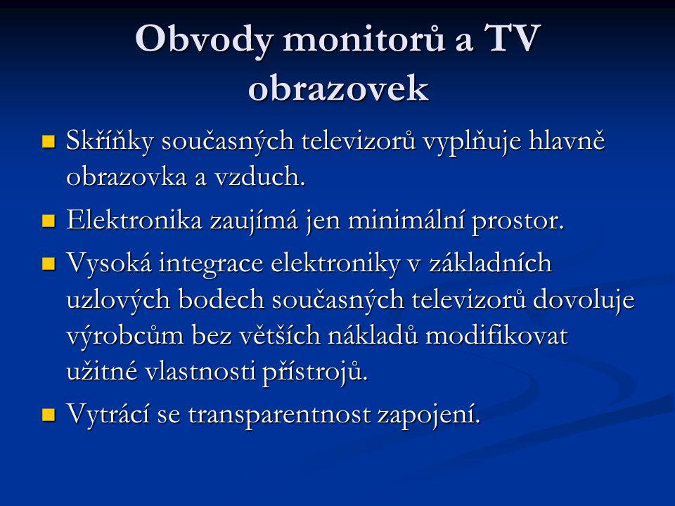 Obvody monitorů a TV obrazovek Skříňky současných televizorů vyplňuje hlavně obrazovka a vzduch.