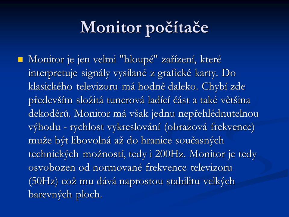 Monitor počítače Monitor je jen velmi hloupé zařízení, které interpretuje signály vysílané z grafické karty.