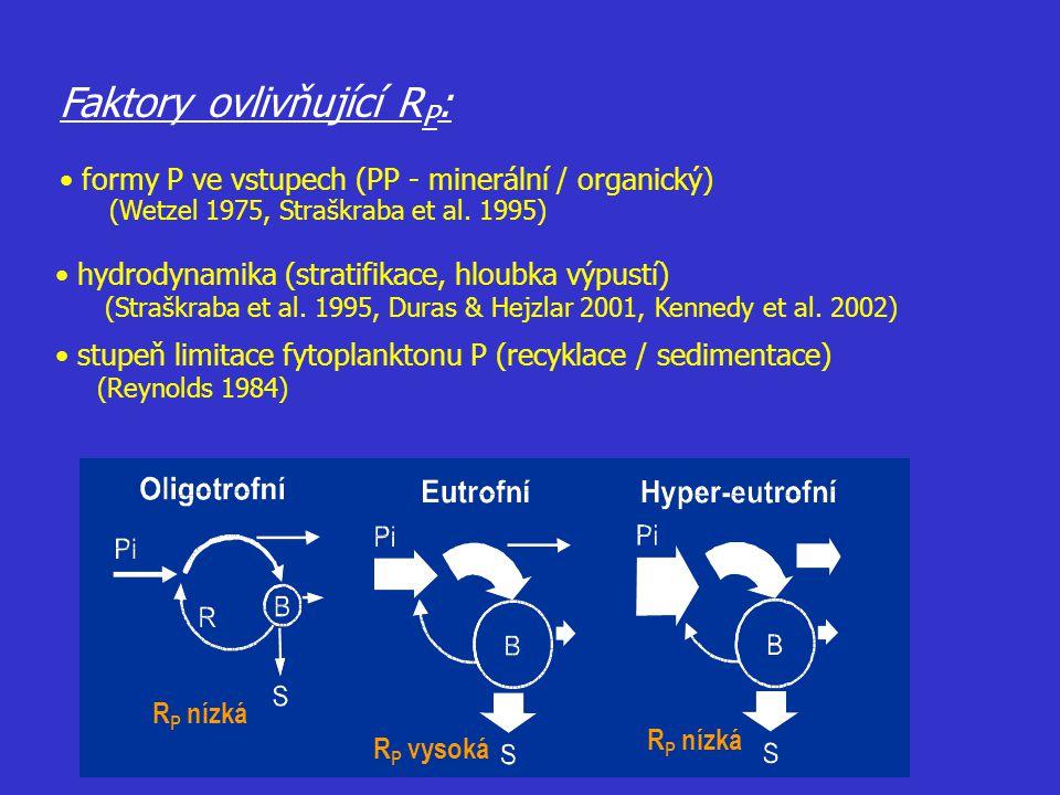 Faktory ovlivňující R P : formy P ve vstupech (PP - minerální / organický) (Wetzel 1975, Straškraba et al. 1995) hydrodynamika (stratifikace, hloubka