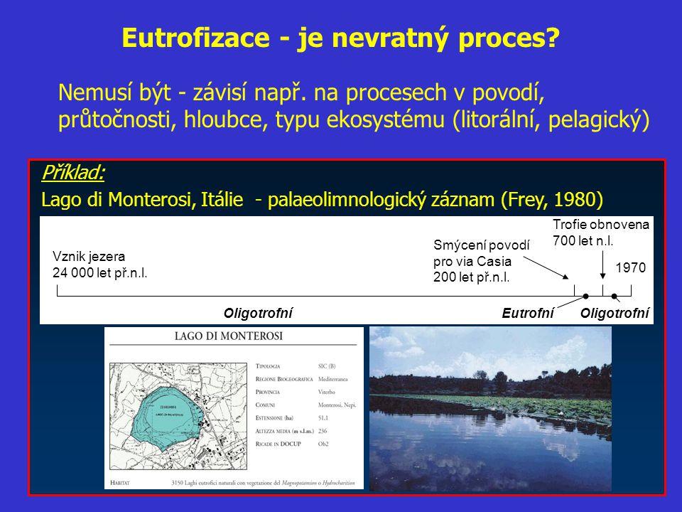 Eutrofizace - je nevratný proces? Nemusí být - závisí např. na procesech v povodí, průtočnosti, hloubce, typu ekosystému (litorální, pelagický) Příkla