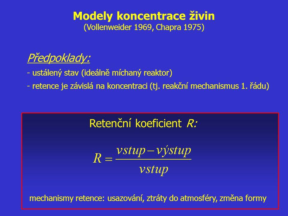 Předpoklady: - ustálený stav (ideálně míchaný reaktor) - retence je závislá na koncentraci (tj. reakční mechanismus 1. řádu) Retenční koeficient R: me