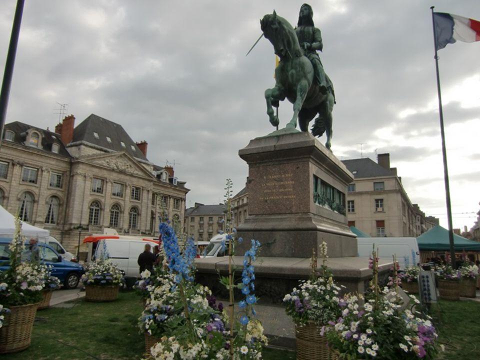 Sochy Jany z Arku jsou na náměstí Place du Martroi a na levém nábřeží Loiry.