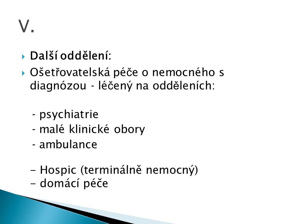 Další oddělení:  Ošet ř ovatelská pé č e o nemocného s diagnózou - lé č ený na odd ě leních: - psychiatrie - malé klinické obory - ambulance - Hosp
