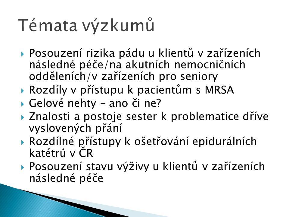  Chirurgie:  Ošetřovatelská péče o nemocného s diagnózou: - karcinom pankreatu - kolorektální karcinom - adenocarcinoma recti - akutní appendicits - cholecystitis - po cholecystektomii - se stomií - zhoubný novotvar prsu - divertikulitis - karcinom plic - akutní pankreatitis - akutní ileus - nádorové onemocnění jícnu - polytrauma - po totální endoprotéze kyčelního kloubu - po aortokoronárním bypassu - ICHS po operaci - aortální stenóza - popáleninami - urolithiáza - úrazem - anesteziologická ošetřovatelská péče o pacienta během operačního výkonu Další diagnózy dle dohody s vedoucím práce