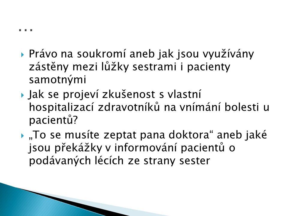  Důstojnost pacientů v dlouhodobé péči  Spolupráce s rodinami při propouštění křehkých seniorů  Informovanost zdravotnických pracovníků o problematice demencí  Dostupnost služeb a kvalita péče o osoby s demencí v Praze  Ošetřovatelská rehabilitace a její poskytování v zařízeních následné péče