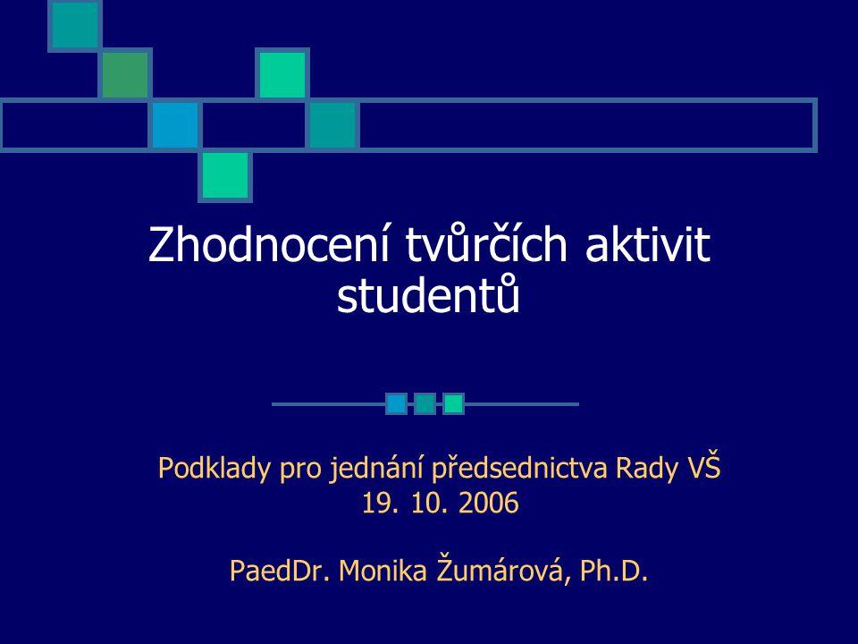 Zhodnocení tvůrčích aktivit studentů Podklady pro jednání předsednictva Rady VŠ 19.