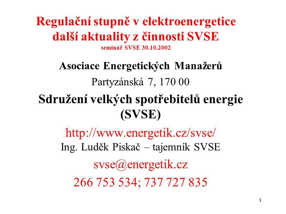 1 Regulační stupně v elektroenergetice další aktuality z činnosti SVSE seminář SVSE 30.10.2002 Asociace Energetických Manažerů Partyzánská 7, 170 00 Sdružení velkých spotřebitelů energie (SVSE) http://www.energetik.cz/svse/ Ing.