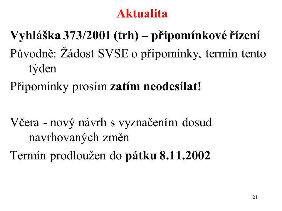 21 Aktualita Vyhláška 373/2001 (trh) – připomínkové řízení Původně: Žádost SVSE o připomínky, termín tento týden Připomínky prosím zatím neodesílat.