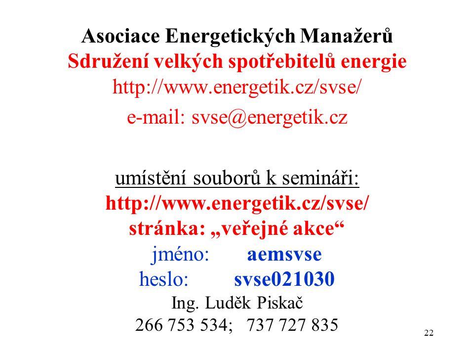 """22 Asociace Energetických Manažerů Sdružení velkých spotřebitelů energie http://www.energetik.cz/svse/ e-mail: svse@energetik.cz umístění souborů k semináři: http://www.energetik.cz/svse/ stránka: """"veřejné akce jméno: aemsvse heslo: svse021030 Ing."""