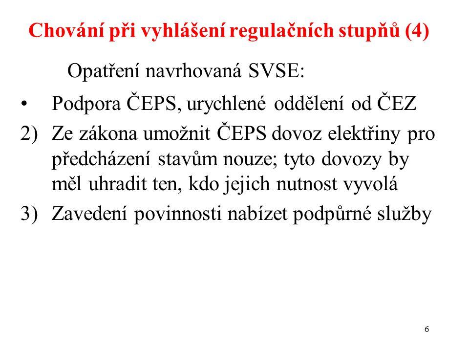 6 Opatření navrhovaná SVSE: Podpora ČEPS, urychlené oddělení od ČEZ 2)Ze zákona umožnit ČEPS dovoz elektřiny pro předcházení stavům nouze; tyto dovozy by měl uhradit ten, kdo jejich nutnost vyvolá 3)Zavedení povinnosti nabízet podpůrné služby Chování při vyhlášení regulačních stupňů (4)