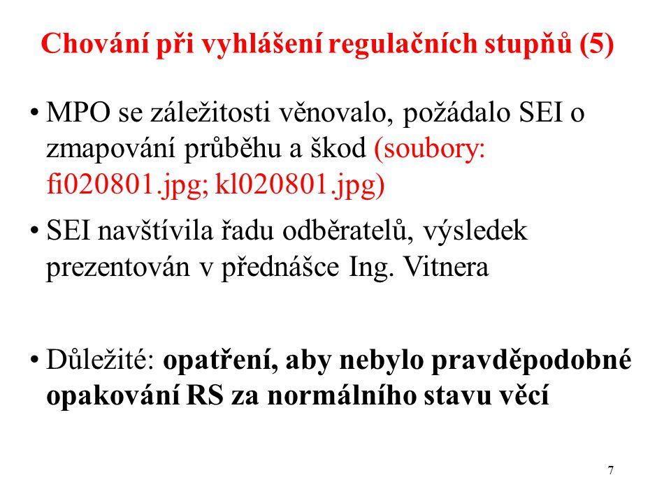7 Chování při vyhlášení regulačních stupňů (5) MPO se záležitosti věnovalo, požádalo SEI o zmapování průběhu a škod (soubory: fi020801.jpg; kl020801.jpg) SEI navštívila řadu odběratelů, výsledek prezentován v přednášce Ing.
