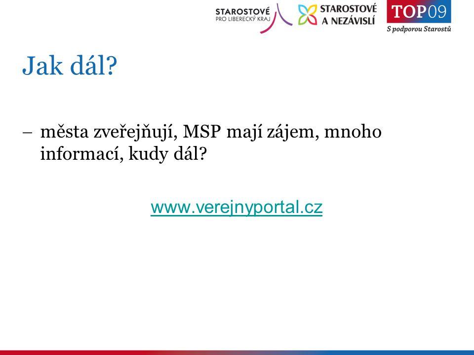 Jak dál  města zveřejňují, MSP mají zájem, mnoho informací, kudy dál www.verejnyportal.cz