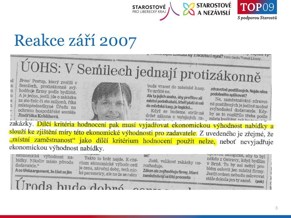 6 Novela směrnice listopad 2007 Cíle - transparentní podmínky - posílení lokální ekonomiky - efektivita - multiplikační efekt investic – nejen že stavíme, ale co a jak Nástroje - včasnost - přijatelná velikost zakázky - informovanost - otevřenost Podpora místní zaměstnanosti vypuštěna