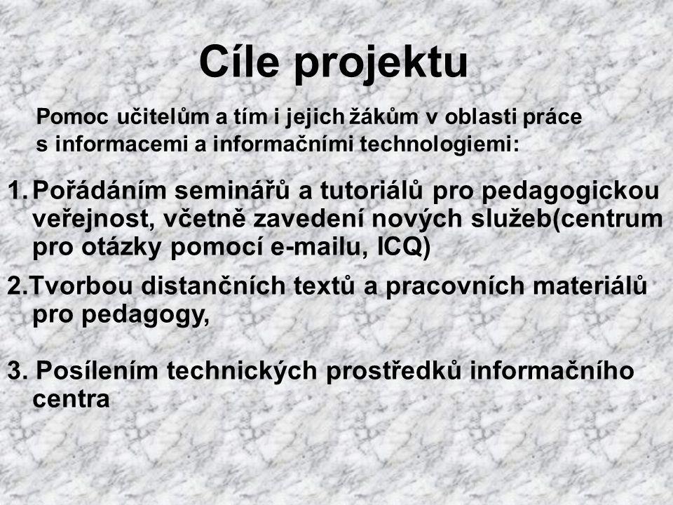 Cíle projektu Pomoc učitelům a tím i jejich žákům v oblasti práce s informacemi a informačními technologiemi: 1.Pořádáním seminářů a tutoriálů pro pedagogickou veřejnost, včetně zavedení nových služeb(centrum pro otázky pomocí e-mailu, ICQ) 2.Tvorbou distančních textů a pracovních materiálů pro pedagogy, 3.
