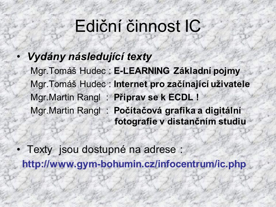 Ediční činnost IC Vydány následující texty Mgr.Tomáš Hudec : E-LEARNING Základní pojmy Mgr.Tomáš Hudec : Internet pro začínající uživatele Mgr.Martin Rangl : Připrav se k ECDL .