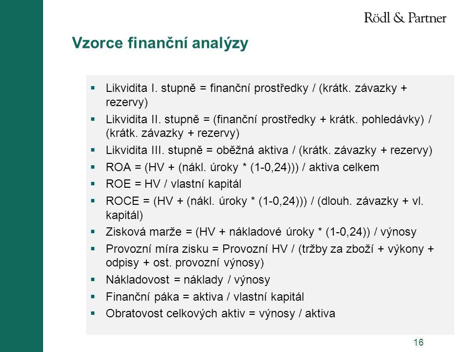 16 Vzorce finanční analýzy  Likvidita I. stupně = finanční prostředky / (krátk. závazky + rezervy)  Likvidita II. stupně = (finanční prostředky + kr