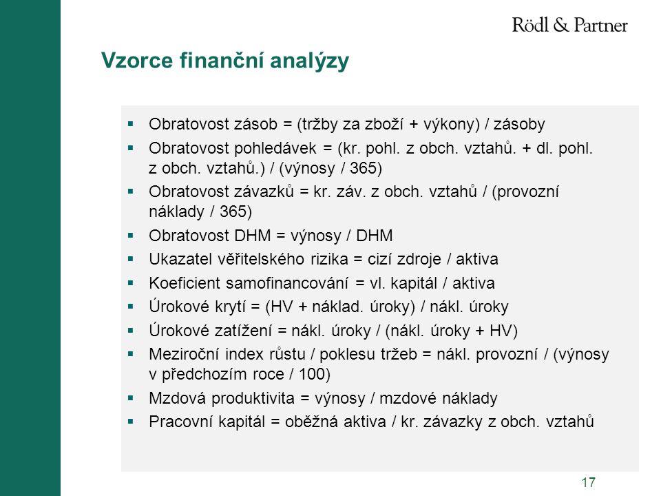 17 Vzorce finanční analýzy  Obratovost zásob = (tržby za zboží + výkony) / zásoby  Obratovost pohledávek = (kr. pohl. z obch. vztahů. + dl. pohl. z